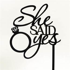 She Said Yes Black Acrylic Engagement Ring Wedding Day