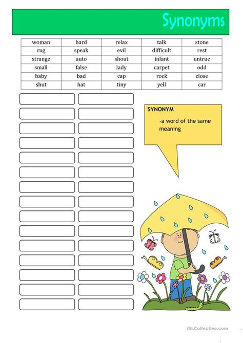 64 Free Esl Synonyms Worksheets