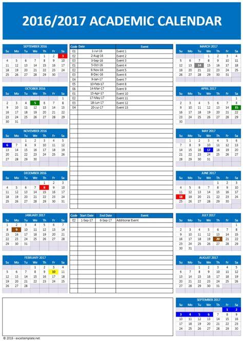 Calendar School 2016 2017 School Calendars Excel Calendars