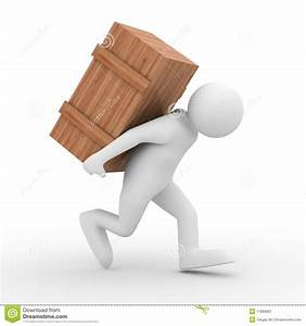 Men Carry Box On Back Stock Illustration  Illustration Of