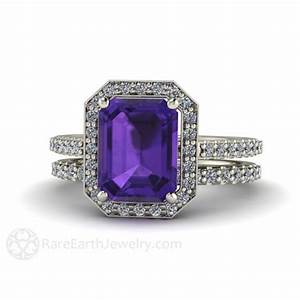 amethyst wedding set amethyst engagement ring and wedding band With amethyst diamond wedding ring set