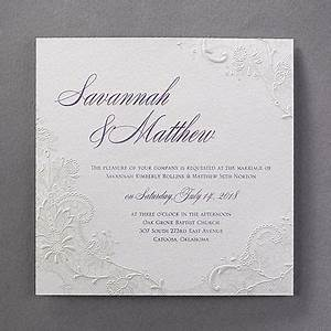 just a touch of embossed lace but a big romantic impact With just embossed wedding invitations