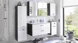 Badezimmer Grau Weiß : badezimmer set melissa 5 tlg in grau wei hochglanz mit led becken ~ Markanthonyermac.com Haus und Dekorationen