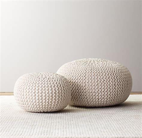 knitted ottomans knit cotton pouf