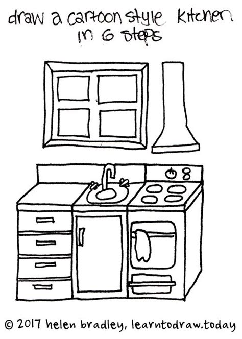Kuche Zeichnung by How To Draw A Kitchen In 6 Steps Drawing In 2019