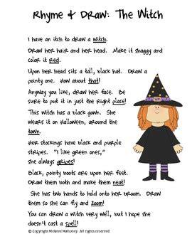 rhyme draw freebie  witch   mahoney tpt