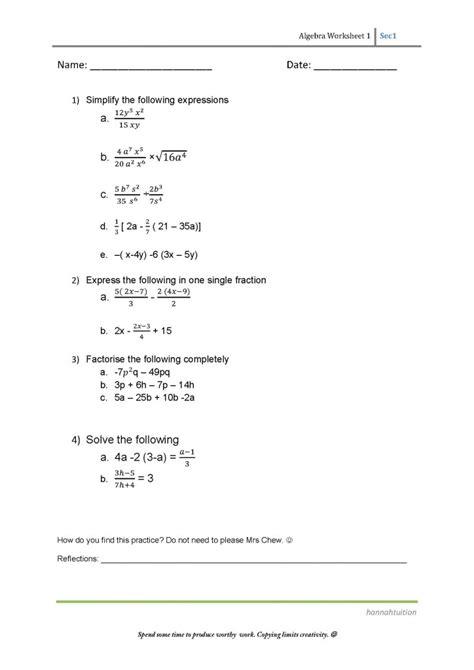 algebra sec 1 simplify factorise solve
