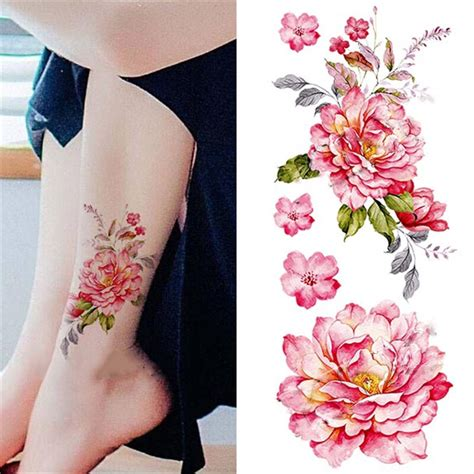 fashion removable waterproof temporary watercolor peony