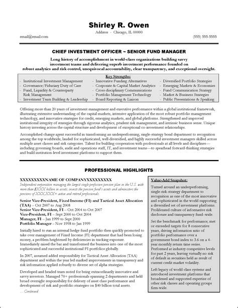 Executive Resume Template by Investment Banking Executive Resume Exle Resume Exles