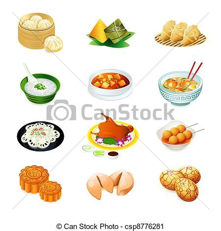 achat chinois cuisine clip vecteur de nourriture chinois icônes coloré