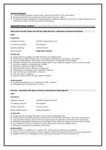 computer networking and technical support resume sle network engineer resume
