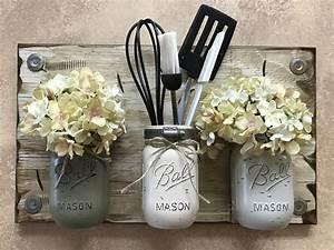 Mason, Jar, Wall, Decor, Sconce, Flowers, Optional, Kitchen, Utensil, Holder, -antique, White, Wood