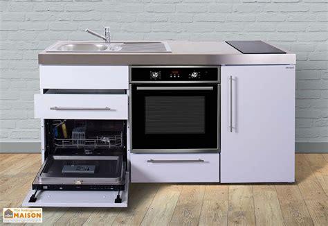 cuisine blanche et bois mini cuisine avec frigo l v four et induction mpbgs 170