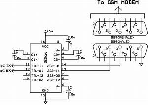 Connection Diagram Of Gsm Modem With Max232 Unit