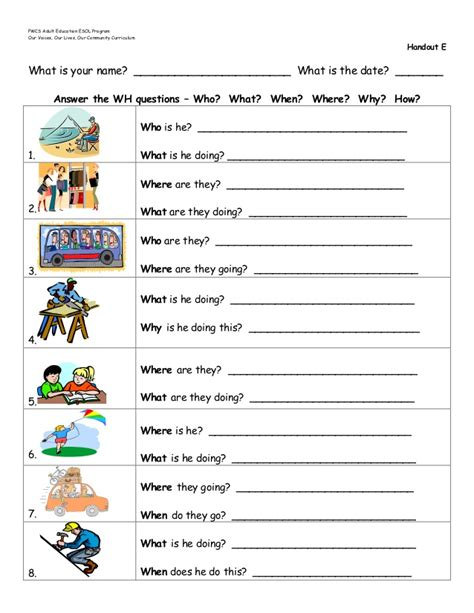 wh questions worksheets for kindergarten wh best free