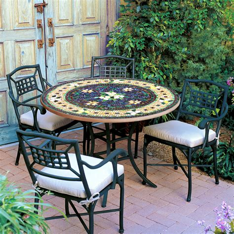 knf designs iron mosaic patio table  iron accents