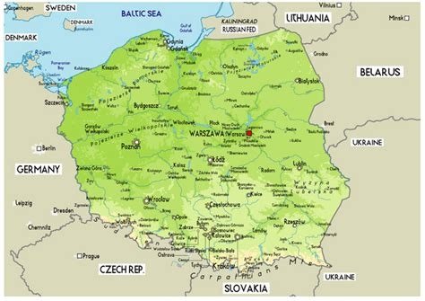 large physical map  poland