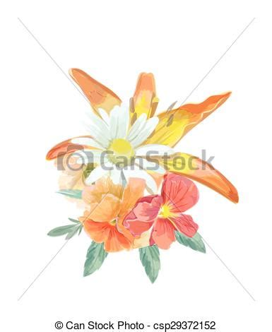watercolor bouquet greeting card with lily for invitation