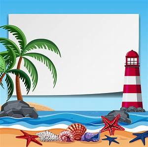 Border, Template, With, Lighthouse, And, Shells, 605971, Vector, Art, At, Vecteezy