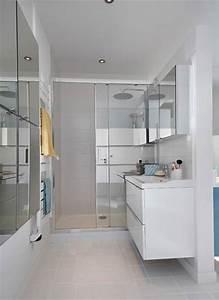 une salle de bains familiale facile a partager styles de With porte de douche coulissante avec meuble salle de bain 2m de long