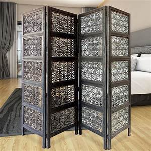 Four, Panel, Mango, Wood, Room, Divider, With, Traditional, Carvings, Black, And, White, 192551281400