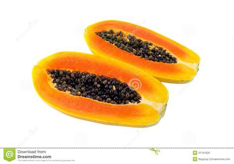 how to cut a papaya the cut papaya in half stock photo image 31191620