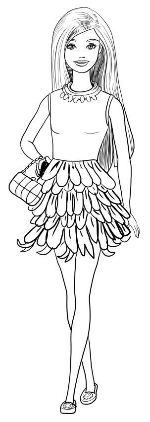 disegno  barbie glamour fashionista da colorare