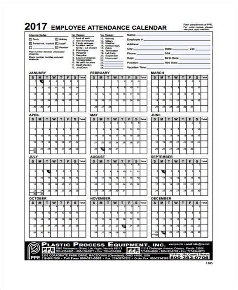 attendance calendar templates  sample