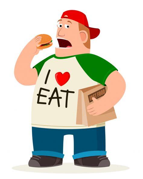 foto de Fatman eating hamburger Vector Premium Download