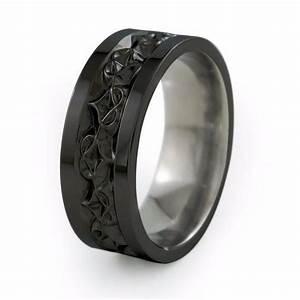 amore mens carved black titanium ring titanium rings With mens black band wedding rings