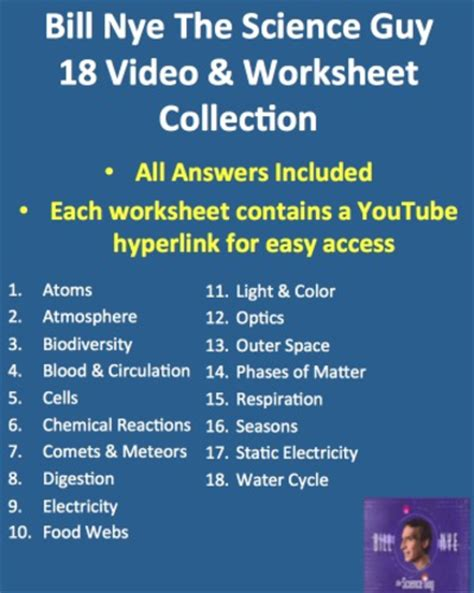 Bill Nye Video Worksheets  Complete 20 Video Worksheet Collection By Teachwithfergy Teaching