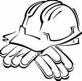 Hard Hat And Work Gloves Grouped Elements ベクトルアート | Thinkstock