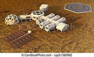 The colony on mars. autonomous life on mars. 3d rendering ...