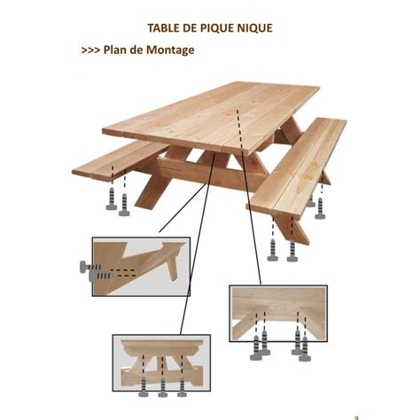 Table Banc De Piquenique 6 Pers Pmr Douglas Naturel 2m