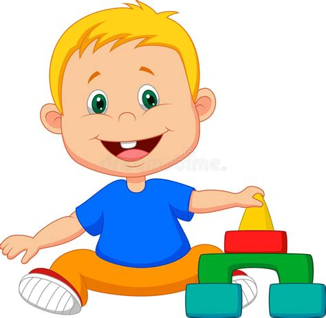 Cartoon Baby Is Playing With Educational Toys Stock Vector ...