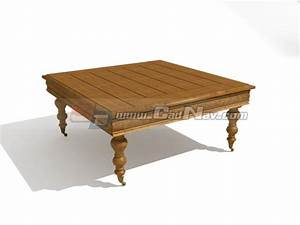 antique furniture short legged coffee table 3d model 3dmax With short leg coffee table