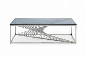 modrest trinity modern glass stainless steel coffee table With all metal coffee table