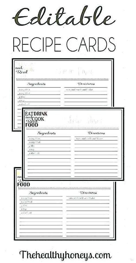 recipe card template  word cards design