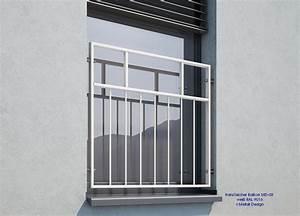 Franzosischer balkon md 03p pulverbeschichtet weiss for Französischer balkon mit holzstuhl weiß garten