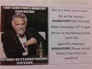 funny mandatory meeting flyers