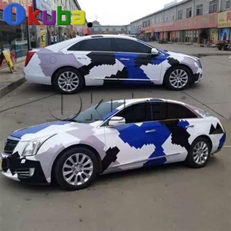 blue black white arctic snow camo vinyl car wrap sticker pixel camouflage car sticker with air