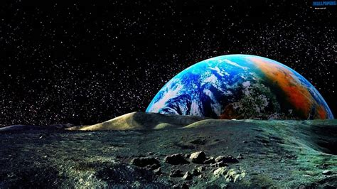 Colored Earth View From The Moon Wallpaper 1600×900