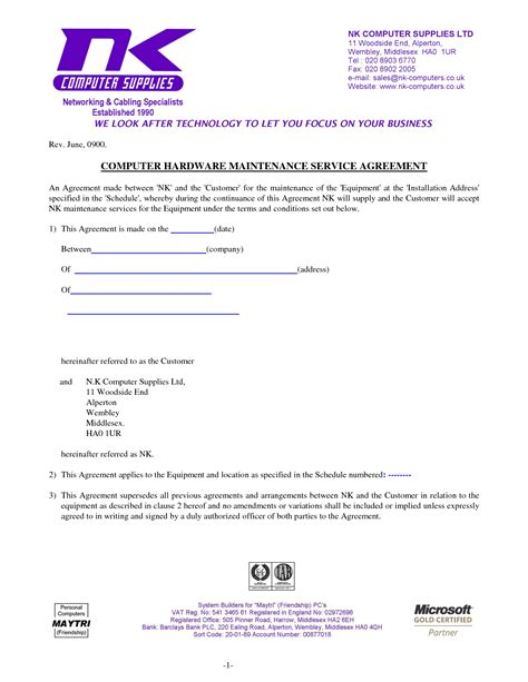 Computer Support Contract Template by Computer Support Computer Support Agreement Sle