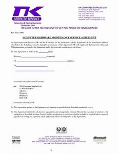 computer support computer support agreement sample With technical support agreement template