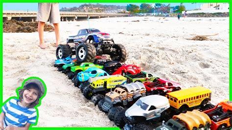 monster trucks video rc monster truck crushes toy monster trucks youtube