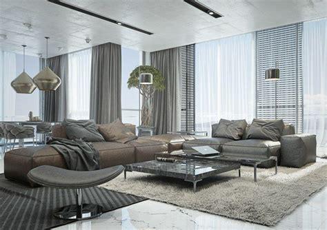 wohnzimmer ideen mit brauner couch braun und grau