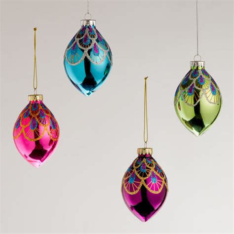 peacock glass teardrop ornaments contemporary