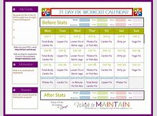 21 Day Fix Workout Calendar yearly printable calendar