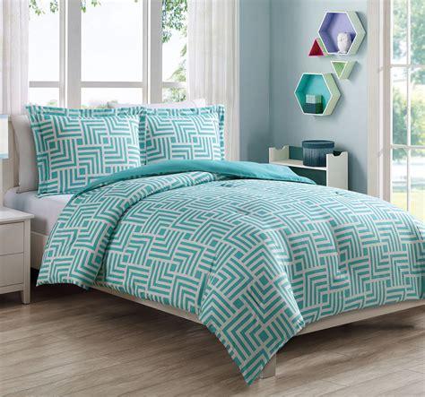 white bed comforters microfiber maze aqua white reversible comforter set