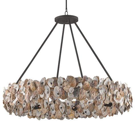 silver chandelier oyster shell coastal ring chandelier kathy kuo home